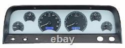 1964-66 Chevy C10 Truck Silver Alloy & Blue Dakota Digital VHX Analog Gauge Kit