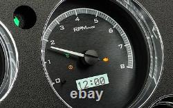 67-72 Chevy Truck C10 Dakota Digital Silver Alloy & White Analog Clock Gauge Kit