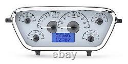 1953-55 Ford F100 Truck Pickup Dakota Digital Silver Alloy & Blue Vhx Gauge Kit