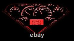 1955-59 Chevy Gmc Truck Black Alloy & Red Dakota Digital Vhx Analog Gauge Kit