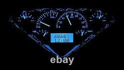 1955-59 Chevy Gmc Truck Silver Alloy & Blue Dakota Digital Vhx Analog Gauge Kit