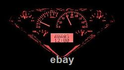 1955-59 Chevy Gmc Truck Silver Alloy & Red Dakota Digital Vhx Analog Gauge Kit