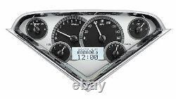 1955-59 Chevy Truck Silver Alloy & White Dakota Digital Vhx Metric Kph Gauge Kit