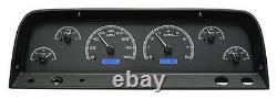 1964-66 Chevy C10 Truck Black Alloy & Blue Dakota Digital Vhx Analog Gauge Kit