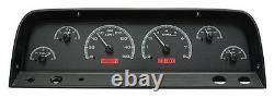 1964-66 Chevy C10 Truck Black Alloy & Red Dakota Digital Vhx Analog Gauge Kit