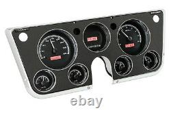 67-72 Chevy Truck C10 Dakota Digital Black Alloy & Red Vhx Analog Gauge Kit