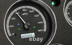 67-72 Chevy Truck C10 Dakota Digital En Alliage Noir Et Bleu Horloge Analogique Kit Jauge